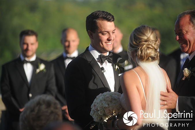 Laki looks at Laura during his September 2017 wedding ceremony at Lake of Isles Golf Club in North Stonington, Connecticut.