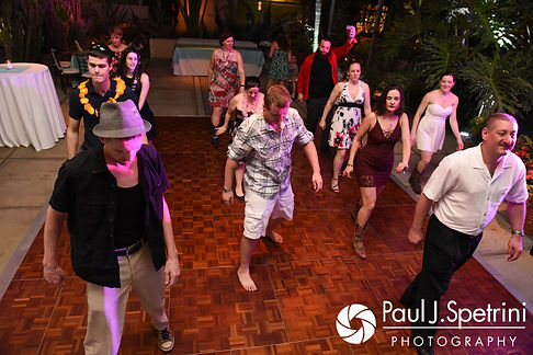 Will and Jess dance with their guests during their May 2017 wedding reception at the Roger Williams Park Botanical Center in Providence, Rhode Island.