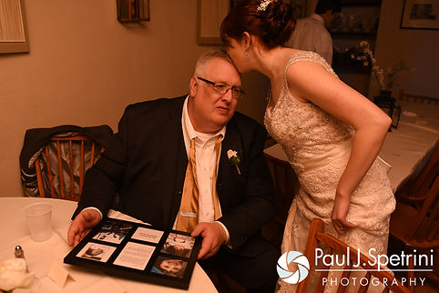 Ellen and her dad share a quiet moment during her May 2016 wedding reception at Bittersweet Farm in Westport, Massachusetts.