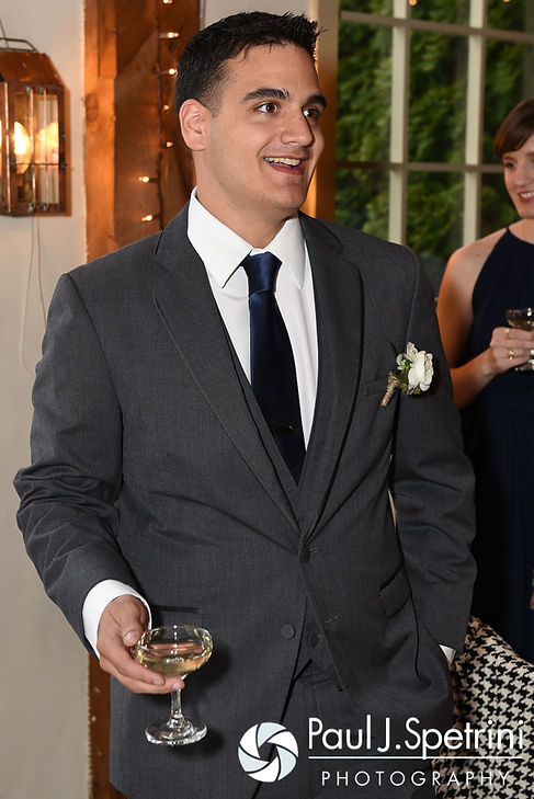 Jeremy's best man gives a toast during his and Ellen's May 2016 wedding reception at Bittersweet Farm in Westport, Massachusetts.