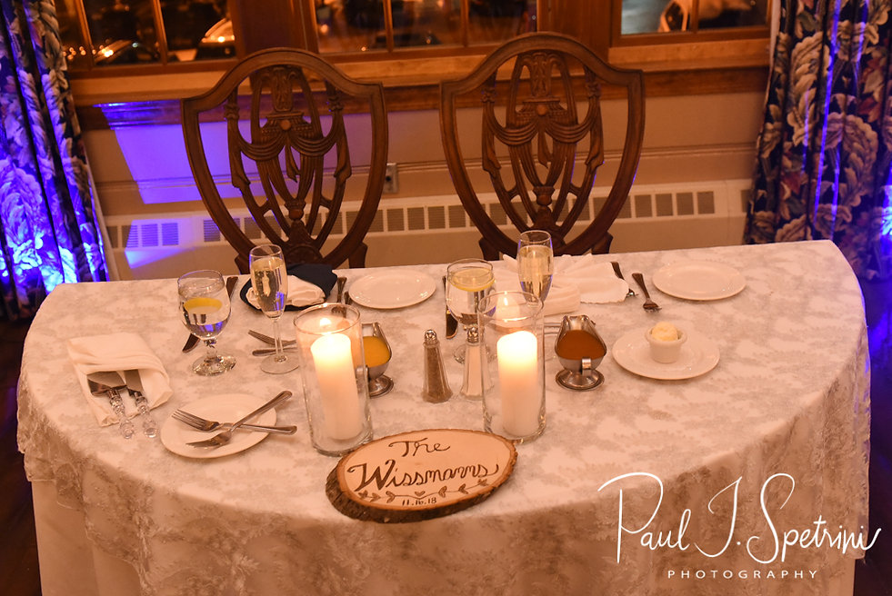 A look at the sweetheart table prior to Nicole & Kurt's November 2018 wedding reception at the Publick House Historic Inn in Sturbridge, Massachusetts.