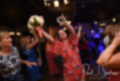 Guests dance during Patrick and Courtney's September 2018 wedding afterparty at Pub on Park in Cranston, Rhode Island.