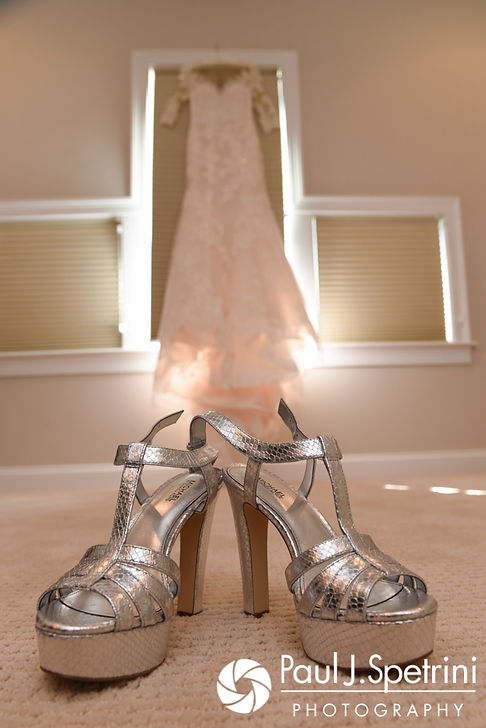 A look at Cynthia's wedding dress and shoes prior to her August 2017 wedding ceremony at Lake Pearl in Wrentham, Massachusetts.
