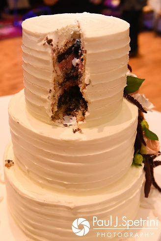 A look at the cake after Tricia and Kevin cut it during their October 2017 wedding reception at the Providence Biltmore in Providence, Rhode Island.