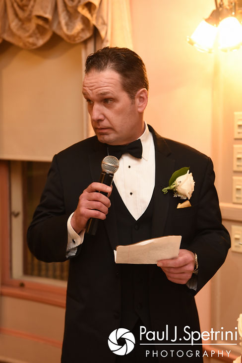 One of the best men give a speech during Allison and Len's September 2017 wedding reception at the Roger Williams Park Casino in Providence, Rhode Island.