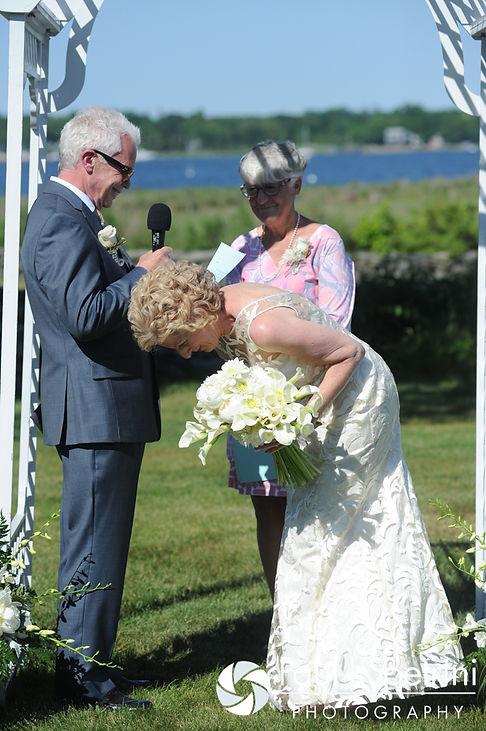 Bob makes Debbie laugh during their June 2016 wedding in Barrington, Rhode Island.