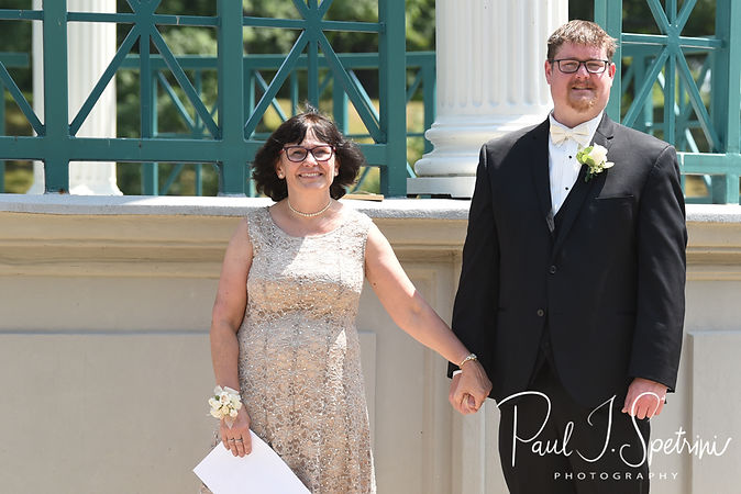 Mark waits for Danielle to arrive during his August 2018 wedding ceremony at the Roger Williams Park Casino in Providence, Rhode Island.