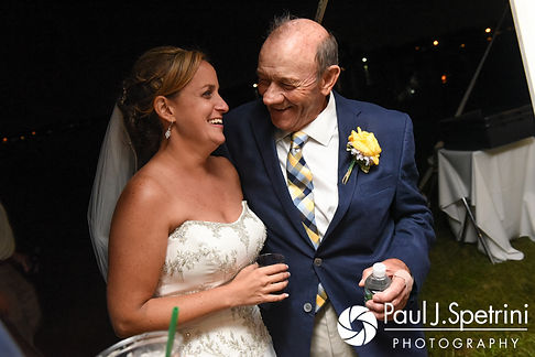 Rebecca shares a moment with her father-in-law during her August 2017 wedding reception in Warwick, Rhode Island.