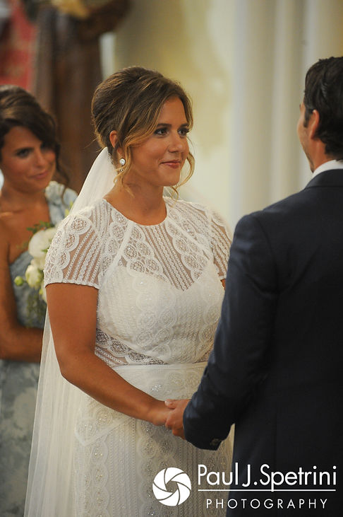 Jennifer smiles during her August 2017 wedding ceremony at St. Joseph Church in New London, Connecticut.