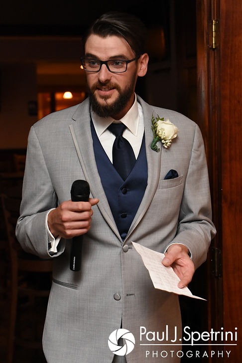 The best man speaks during Jennifer and Robert's September 2017 wedding reception at Oceanside at the Pier in Narragansett, Rhode Island.