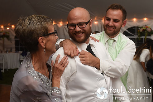 Forrester shares a moment with his mom and best man during his October 2016 wedding reception in Charlestown, Rhode Island.
