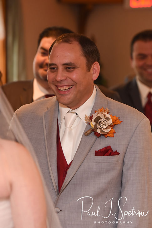 Rich smiles during his October 2018 wedding ceremony at Zukas Hilltop Barn in Spencer, Massachusetts.