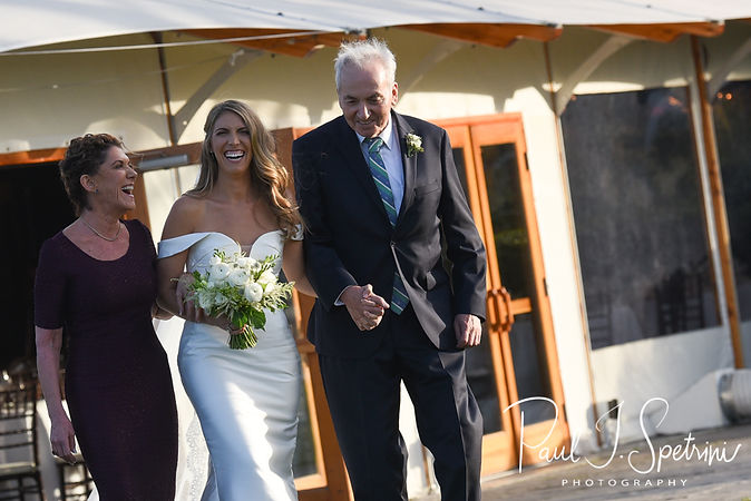 Whitney smiles as walks down the aisle during her October 2018 wedding ceremony at Castle Hill Inn in Newport, Rhode Island.