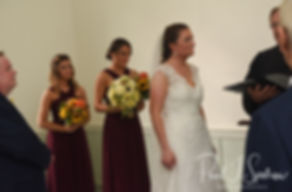 Allie stands with her bridesmaids during her October 2018 wedding ceremony at South Ferry Church in Narragansett, Rhode Island.
