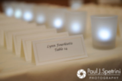 Placecards are on display prior to Laura and Laki's September 2017 wedding reception at Lake of Isles Golf Club in North Stonington, Connecticut.