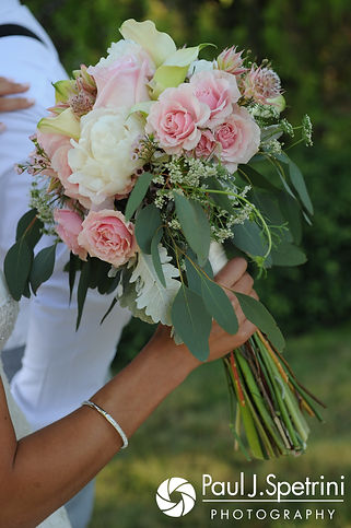 A look at Cassie's bouquet following her July 2017 wedding ceremony at Rachel's Lakeside in Dartmouth, Massachusetts.