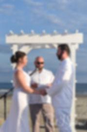 Mike and Selah exchange vows during their August 2018 wedding ceremony at The Rotunda Ballroom at Easton's Beach in Newport, Rhode Island.