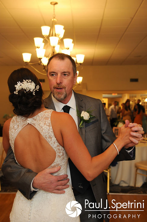 Cassie and her father dance during her July 2017 wedding reception at Rachel's Lakeside in Dartmouth, Massachusetts.