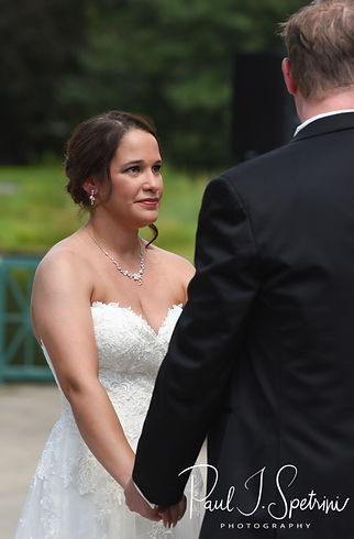 Danielle looks at Mark during her August 2018 wedding ceremony at the Roger Williams Park Casino in Providence, Rhode Island.