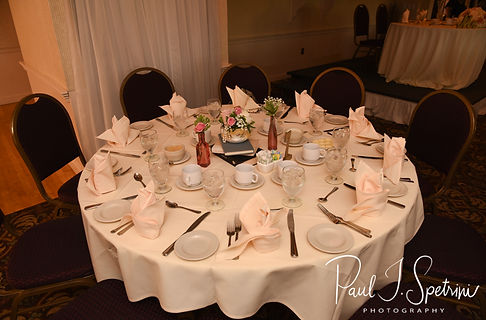 A look at the table settings during Patrick & Courtney''s September 2018 wedding reception at Valley Country Club in Warwick, Rhode Island.