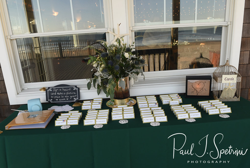 A look at the place cards, shown on display during Cara & Brandon''s November 2018 wedding reception at the North Beach Clubhouse in Narragansett, Rhode Island.