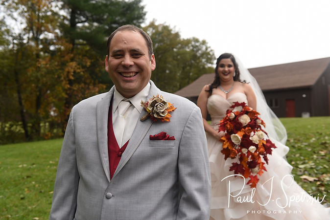 Rich smiles as he waits to see Makayla during a first look prior to his October 2018 wedding ceremony at Zukas Hilltop Barn in Spencer, Massachusetts.