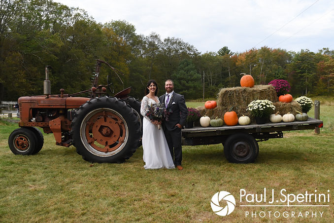 Samantha and Dale pose for a formal photo at their home in Foster, Rhode Island.