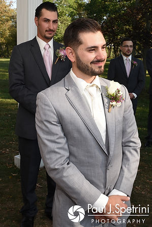 John smiles as he sees Stacey for the first time during his September 2017 wedding ceremony at Colt State Park in Bristol, Rhode Island.