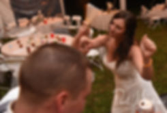 Karolyn dances with a guest during her August 2018 wedding reception at a private residence in Sterling, Connecticut.