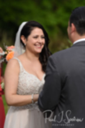 Kelly looks at Zach during her June 2018 wedding ceremony at Blissful Meadows Golf Club in Uxbridge, Massachusetts.