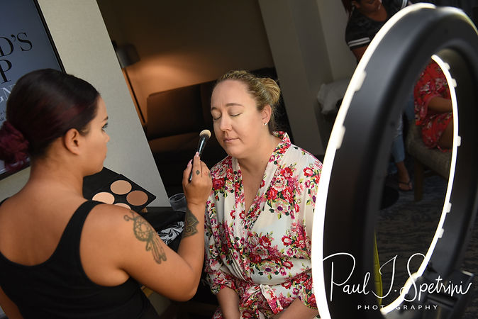 Courtney has her makeup applied prior to her September 2018 wedding ceremony at St. Paul Church in Cranston, Rhode Island.