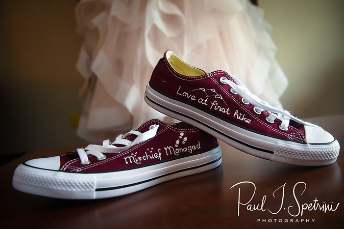 A look at Makayla's shoes during her bridal prep session at Sturbridge Host Hotel and Conference Center In Sturbridge, Massachusetts prior to her October 2018 wedding.