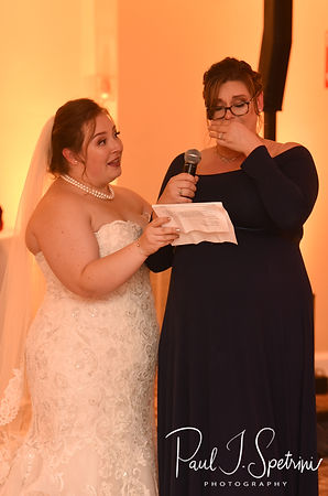 The maid of honor gives a speech during Chris & Stephanni's October 2018 wedding reception at Rachel's Lakeside in Dartmouth, Massachusetts.
