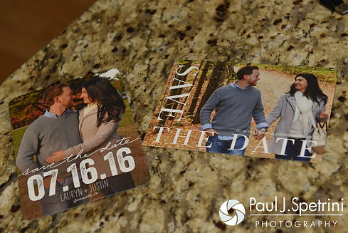 A look at Justin and Lauryn's Save the Dates prior to their July 2016 wedding at St. Paul the Apostle Catholic Church in Foster, Rhode Island.
