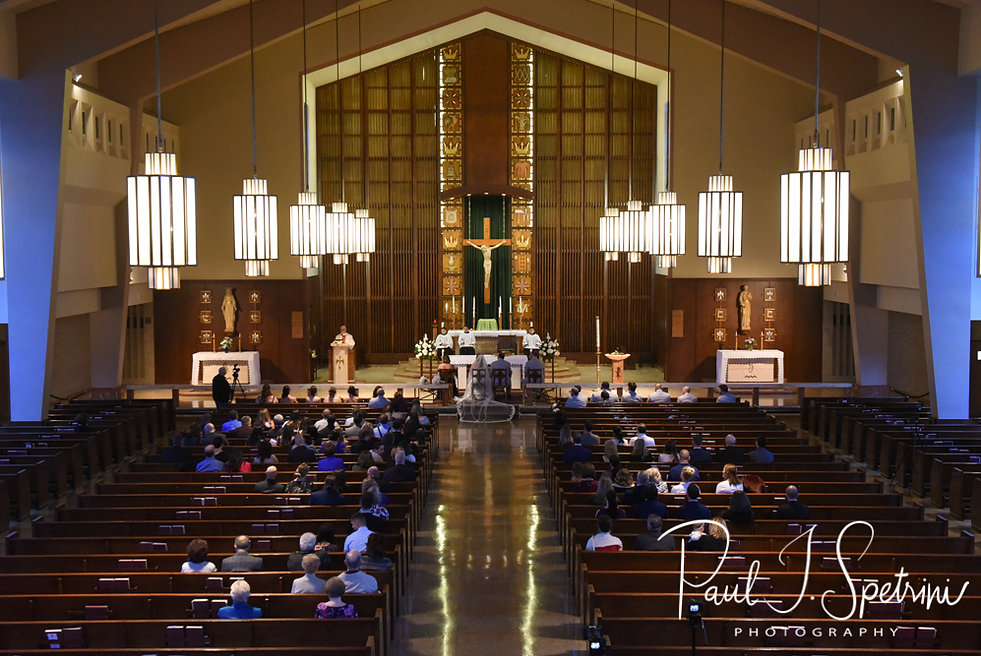 A look at the church during Sarah & Anthony's October 2018 wedding ceremony at St. Augustine Catholic Church in Providence, Rhode island.