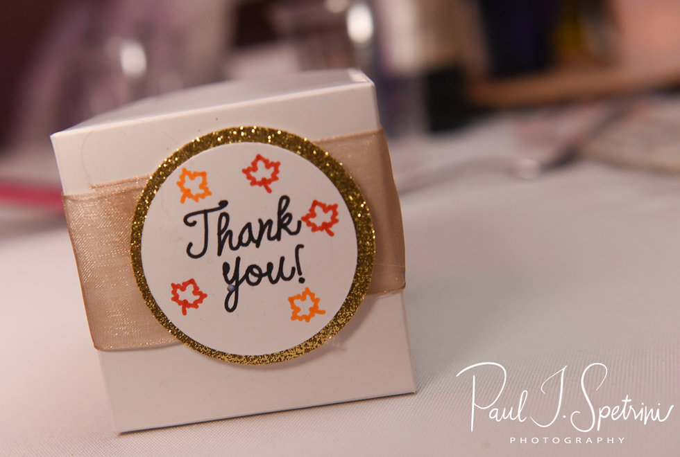 Guests received a thank you box during Chris & Stephanni's October 2018 wedding reception at Rachel's Lakeside in Dartmouth, Massachusetts.
