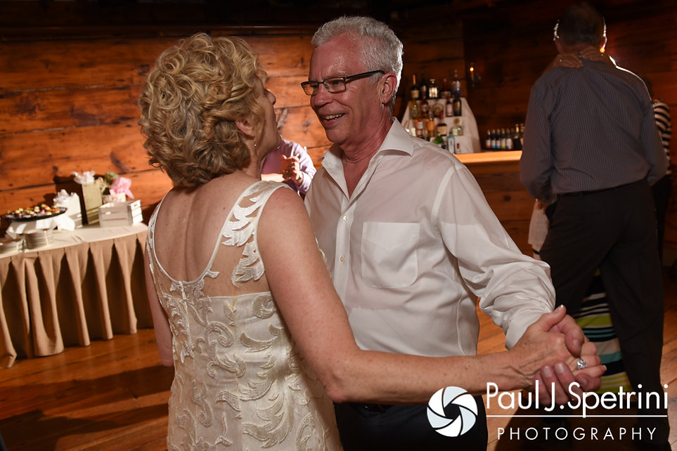 Bob and Debbie dance during their June 2016 wedding reception at DeWolf Tavern in Bristol, Rhode Island.