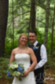 Josh & Kim pose for a formal photo prior to their September 2018 wedding ceremony at their home in Coventry, Rhode Island.