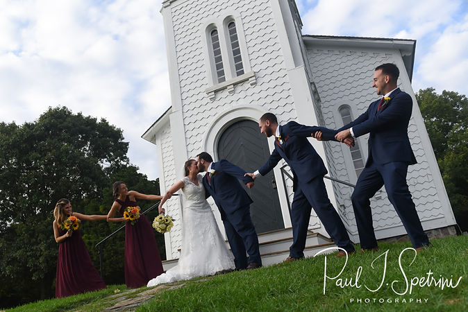 Rob & Allie pose for a fun photo following their October 2018 wedding ceremony at South Ferry Church in Narragansett, Rhode Island.