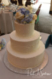 A look at Brian and Sarah's wedding cake, as seen during their June 2018 wedding reception at Pleasant Valley Country Club in Sutton, Massachusetts.