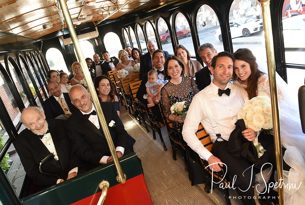 Helen and Mike pose for a photo on a trolley following their September 2018 wedding ceremony at the Touro Synagogue in Newport, Rhode Island.