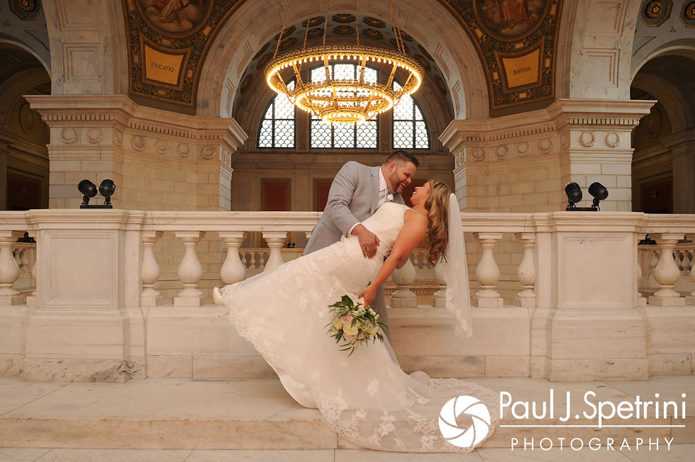 Nathan and Amy pose for a formal photo at the Rhode Island Statehouse prior to their November 2017 wedding reception at Quidnessett Country Club in North Kingstown, Rhode Island.