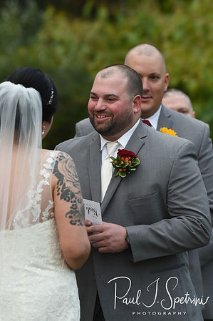 Justine and Jon exchange their vows during their October 2018 wedding ceremony at Twelve Acres in Smithfield, Rhode Island.