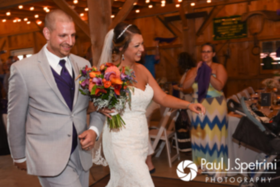 Jennifer and Kevin are introduced during their September 2017 wedding reception at Allen Hill Farm in Brooklyn, Connecticut.