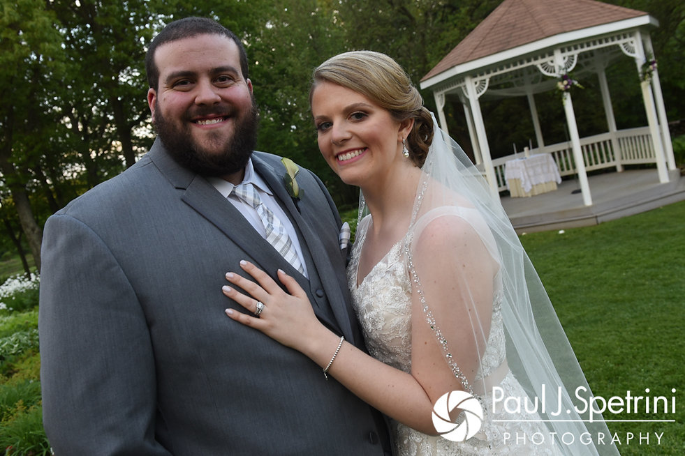 Melissa and Jordan poses for a formal photo following their May 2017 wedding ceremony at Independence Harbor in Assonet, Massachusetts.