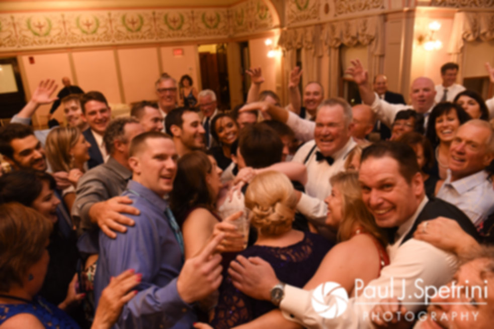 Allison and Len are swarmed by guests following their September 2017 wedding reception at the Roger Williams Park Casino in Providence, Rhode Island.