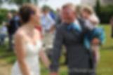 Jamie and Justin walk down the aisle following their August 2015 wedding at Prescott Farm during their August 2015 wedding in Middletown, Rhode Island.