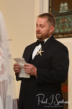 Brandon reads his vows during his November 2018 wedding ceremony at First Baptist Church in Hope Valley, Rhode Island.