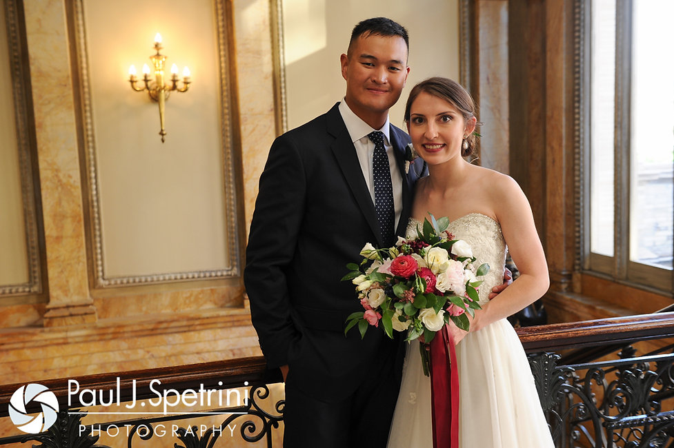 Dan and Simonne pose for a photo June 2016 wedding in Providence, Rhode Island.