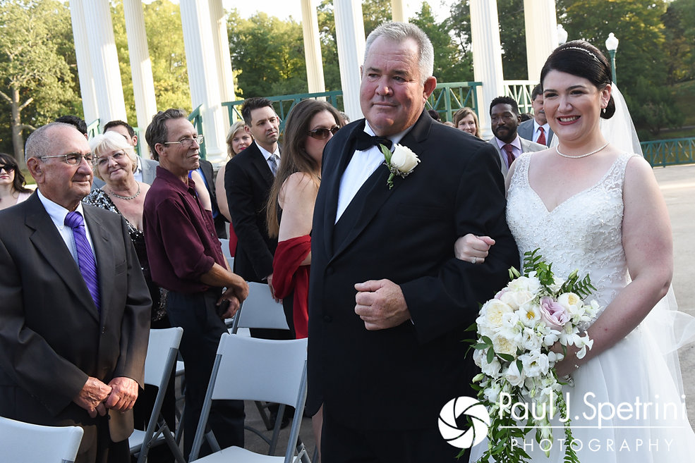 Allison and her father walk down the aisle during her September 2017 wedding ceremony at the Roger Williams Park Casino in Providence, Rhode Island.